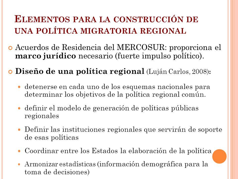 Elementos para la construcción de una política migratoria regional
