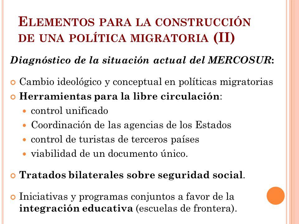 Elementos para la construcción de una política migratoria (II)