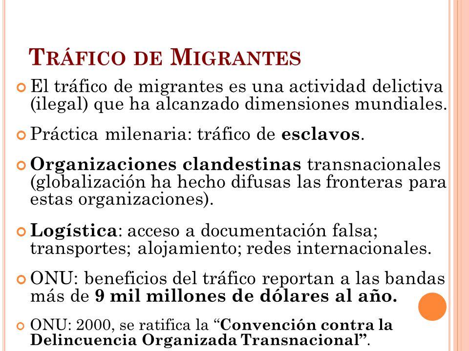 Tráfico de Migrantes El tráfico de migrantes es una actividad delictiva (ilegal) que ha alcanzado dimensiones mundiales.