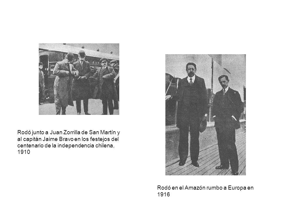 Rodó junto a Juan Zorrilla de San Martín y al capitán Jaime Bravo en los festejos del centenario de la independencia chilena, 1910