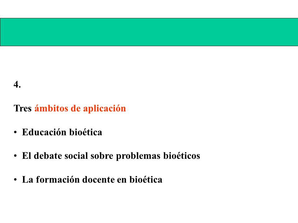 4. Tres ámbitos de aplicación. Educación bioética. El debate social sobre problemas bioéticos.