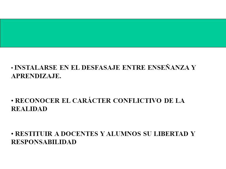 RECONOCER EL CARÁCTER CONFLICTIVO DE LA REALIDAD