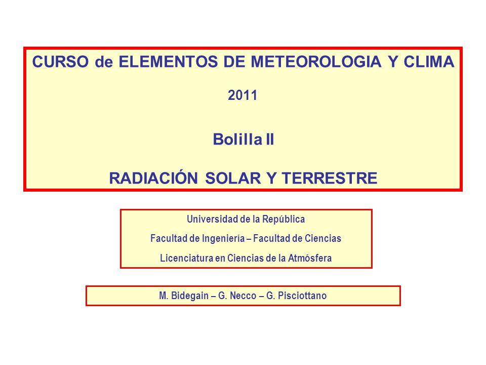CURSO de ELEMENTOS DE METEOROLOGIA Y CLIMA 2011 Bolilla II RADIACIÓN SOLAR Y TERRESTRE
