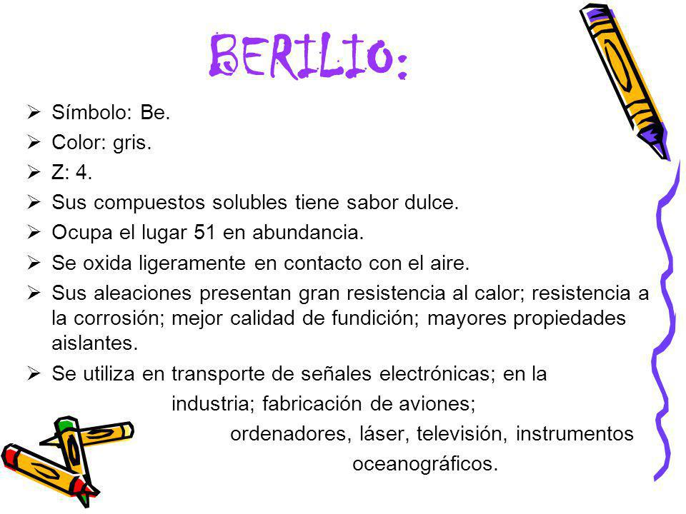 BERILIO: Símbolo: Be. Color: gris. Z: 4.