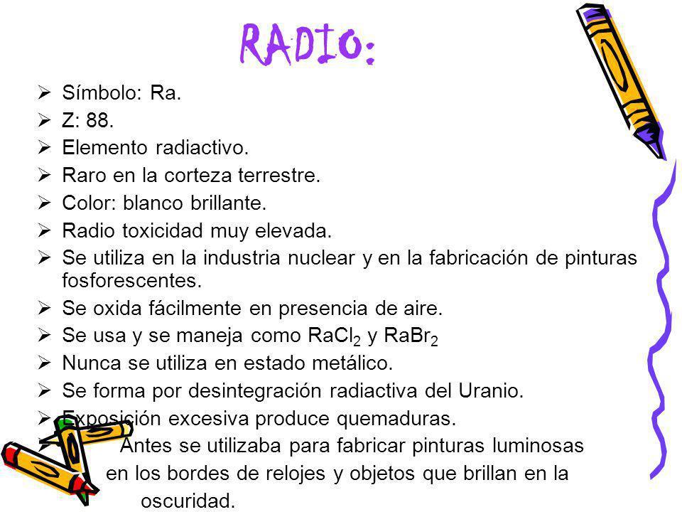 RADIO: Símbolo: Ra. Z: 88. Elemento radiactivo.