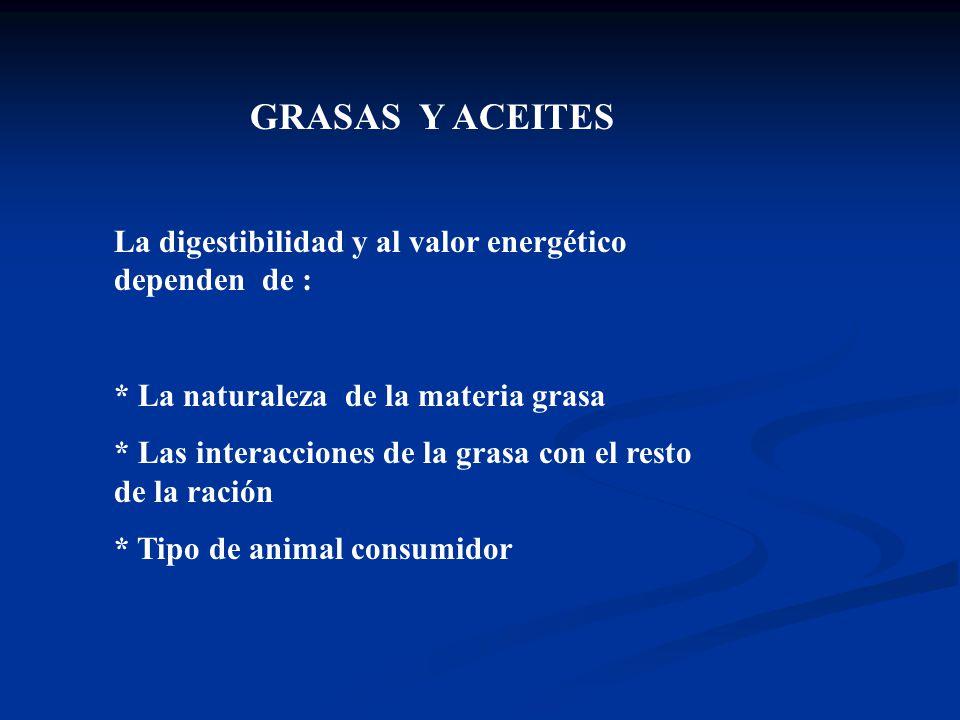 GRASAS Y ACEITES La digestibilidad y al valor energético dependen de :