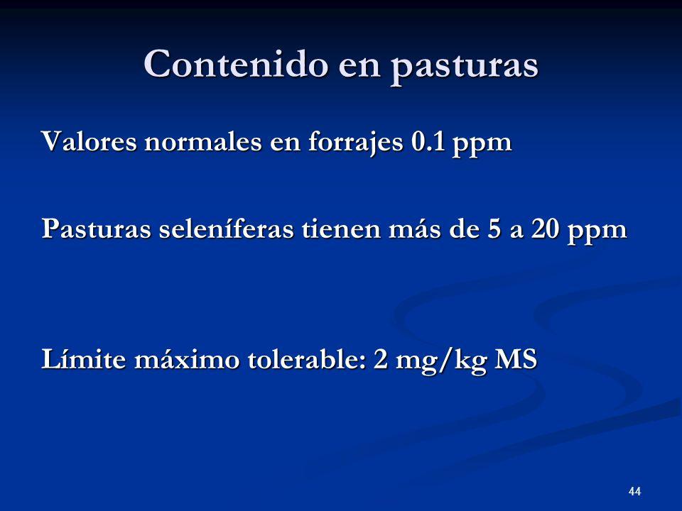 Contenido en pasturas Valores normales en forrajes 0.1 ppm Pasturas seleníferas tienen más de 5 a 20 ppm Límite máximo tolerable: 2 mg/kg MS