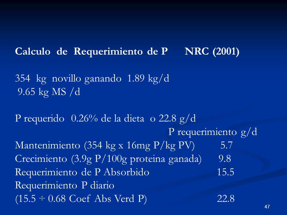 Calculo de Requerimiento de P NRC (2001)
