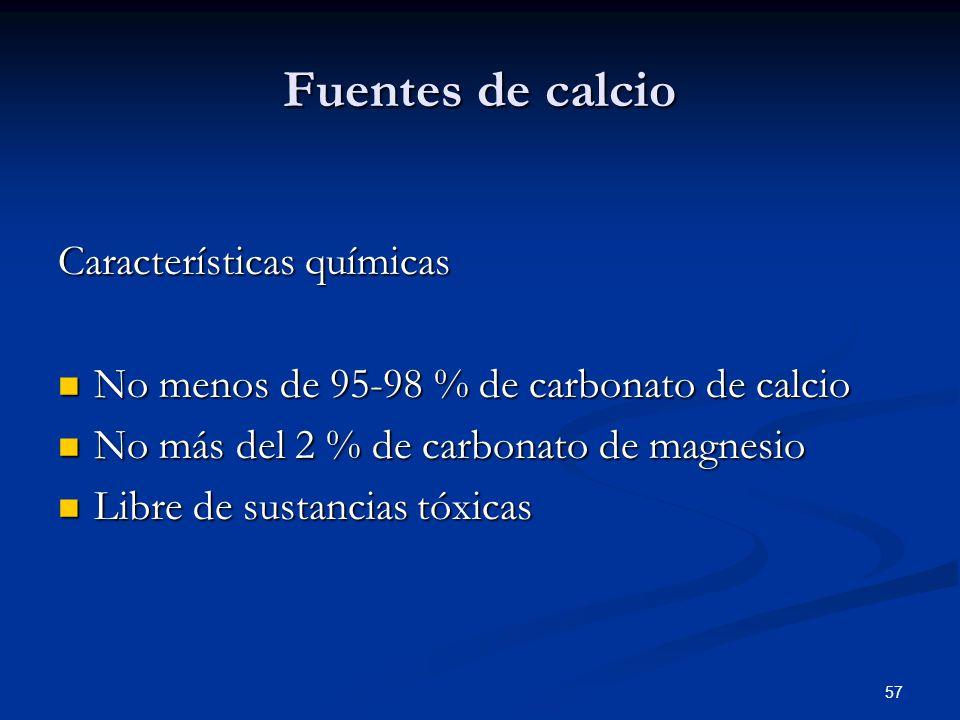 Fuentes de calcio Características químicas