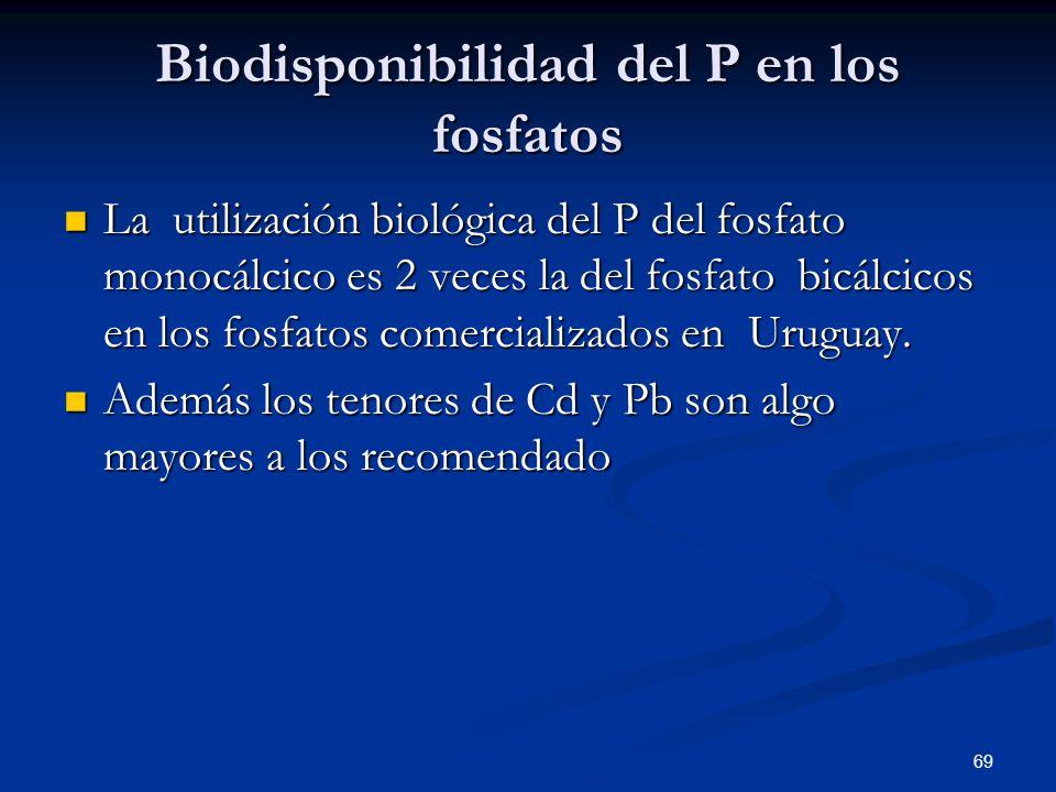 Biodisponibilidad del P en los fosfatos