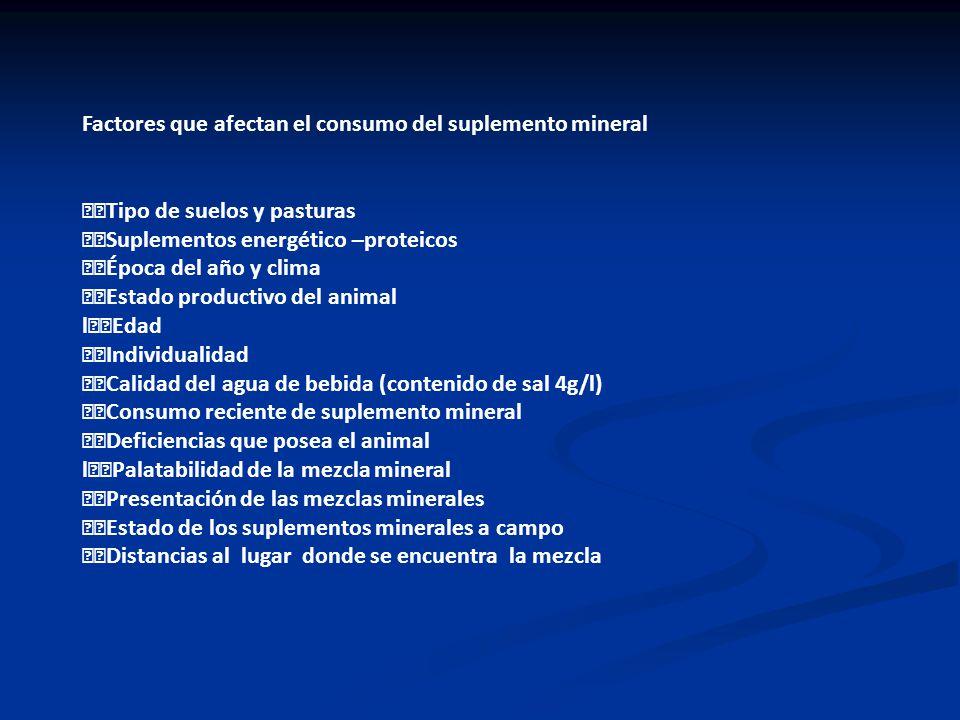 Factores que afectan el consumo del suplemento mineral