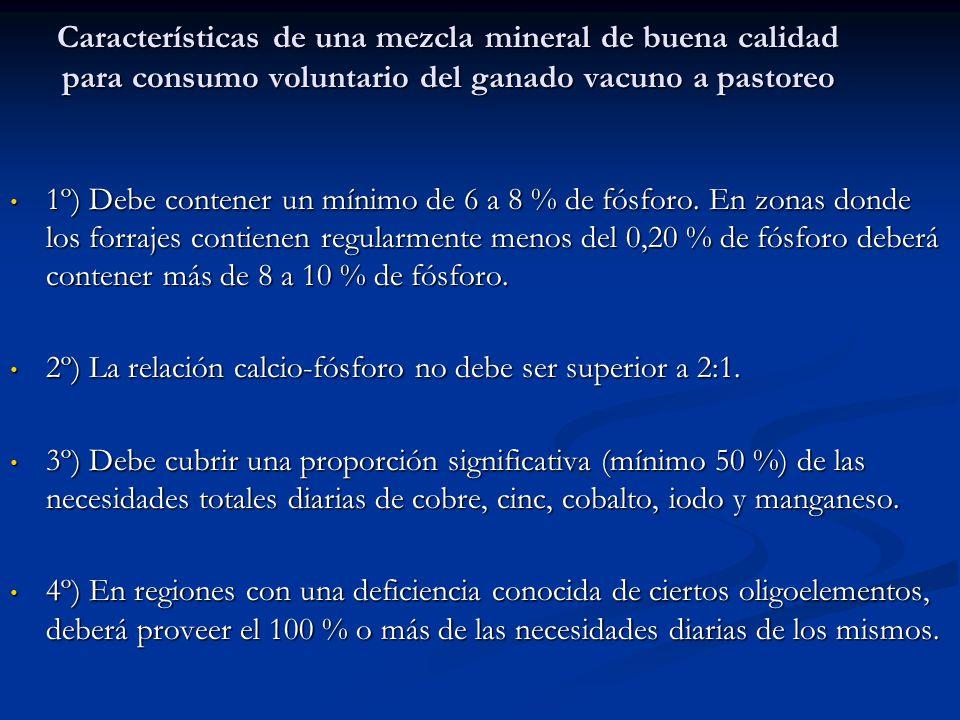 Características de una mezcla mineral de buena calidad para consumo voluntario del ganado vacuno a pastoreo