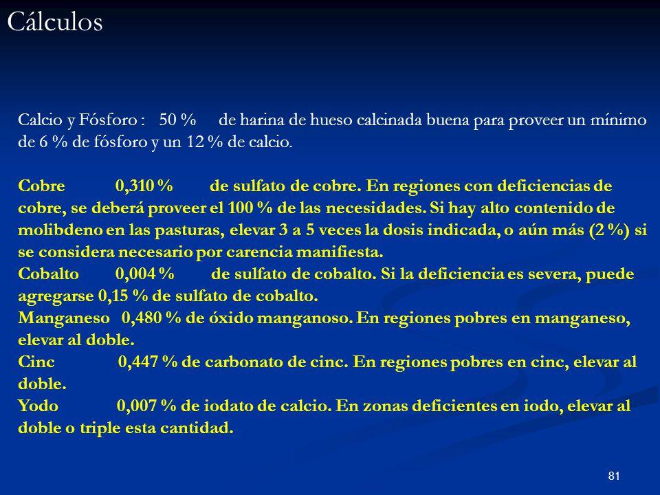 Cálculos Calcio y Fósforo : 50 % de harina de hueso calcinada buena para proveer un mínimo de 6 % de fósforo y un 12 % de calcio.