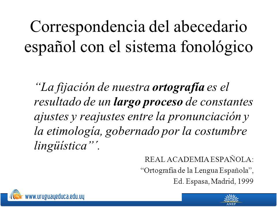 Correspondencia del abecedario español con el sistema fonológico