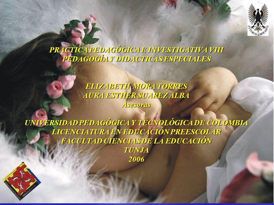 PRACTICA PEDAGÓGICA E INVESTIGATIVA VIII PEDAGOGÍA Y DIDACTICAS ESPECIALES ELIZABETH MORA TORRES AURA ESTHER SUAREZ ALBA Asesoras UNIVERSIDAD PEDAGÓGICA Y TECNOLÓGICA DE COLOMBIA LICENCIATURA EN EDUCACIÓN PREESCOLAR FACULTAD CIENCIAS DE LA EDUCACIÓN TUNJA 2006
