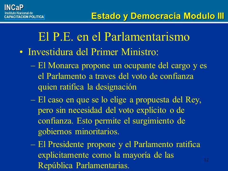 El P.E. en el Parlamentarismo