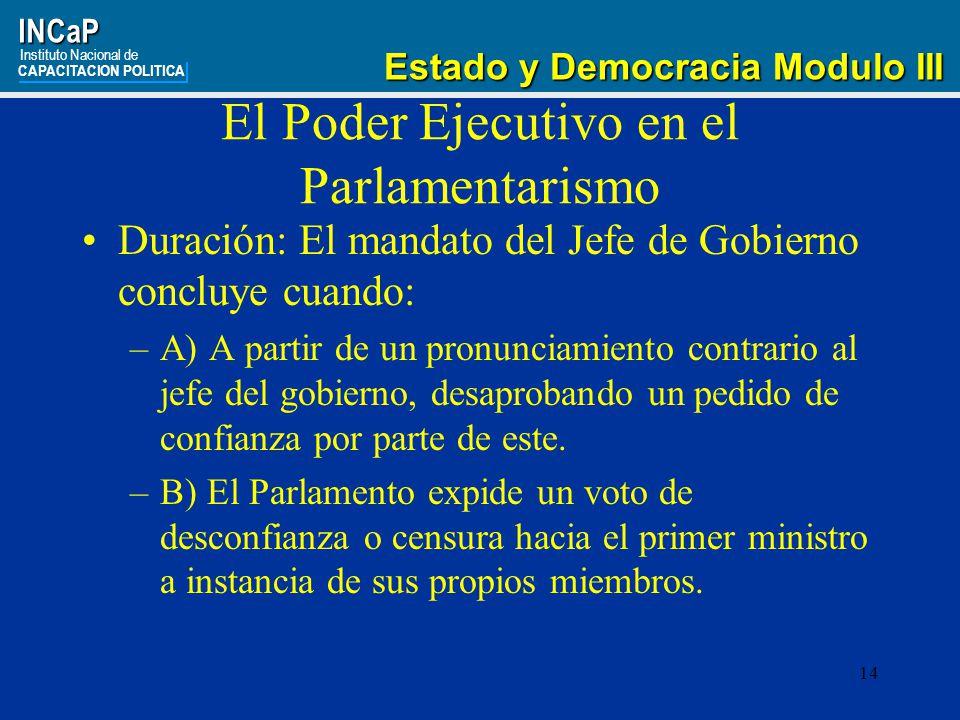 El Poder Ejecutivo en el Parlamentarismo
