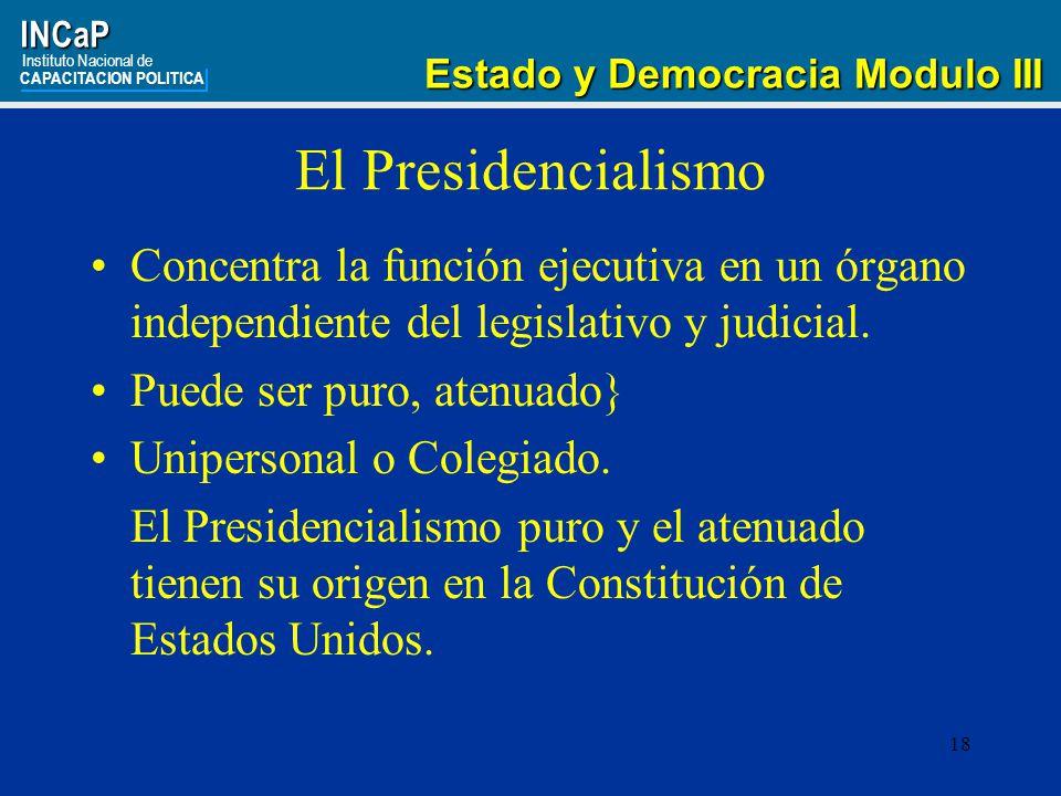 INCaP Instituto Nacional de. CAPACITACION POLITICA. Estado y Democracia Modulo III. El Presidencialismo.
