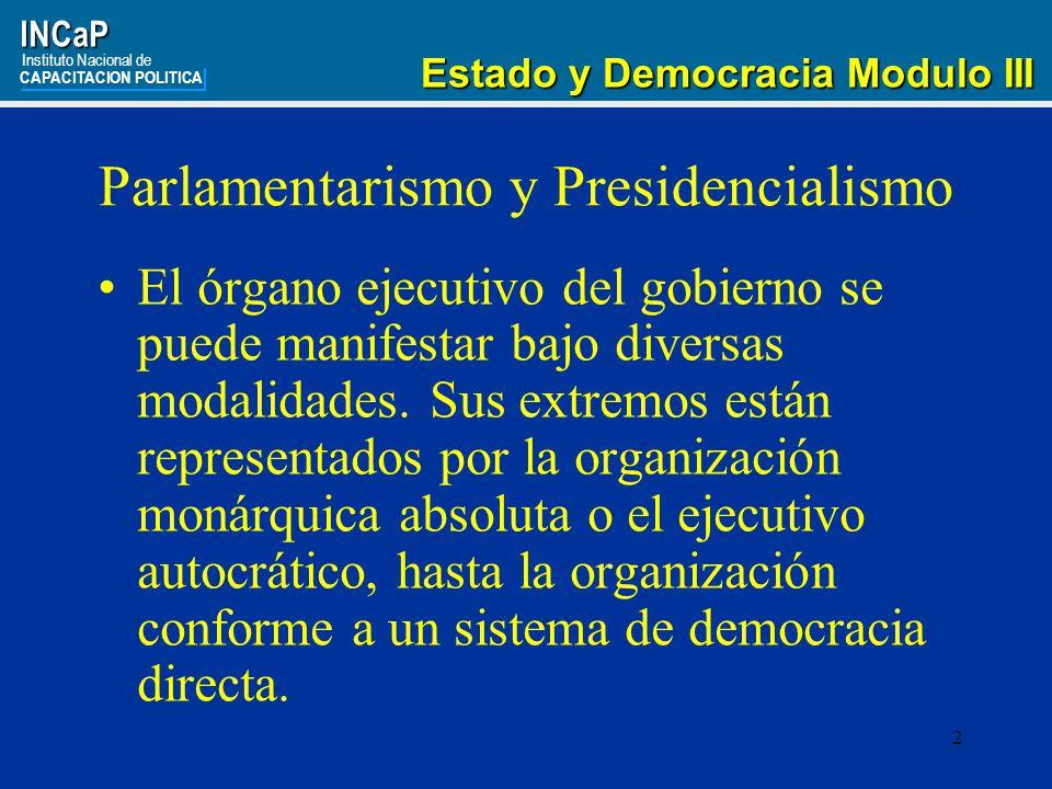 Parlamentarismo y Presidencialismo