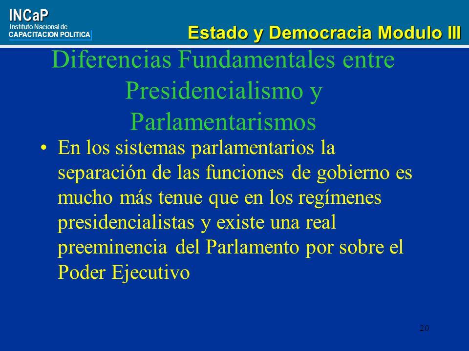 Diferencias Fundamentales entre Presidencialismo y Parlamentarismos