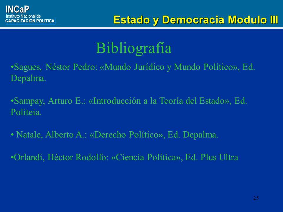 Bibliografía Estado y Democracia Modulo III INCaP
