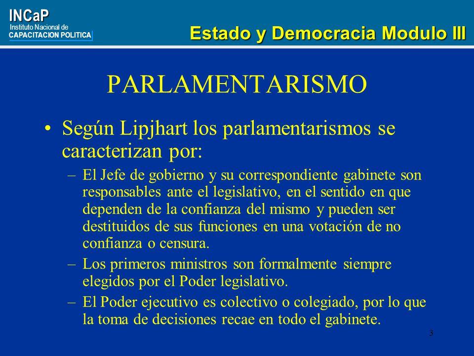 INCaP Instituto Nacional de. CAPACITACION POLITICA. Estado y Democracia Modulo III. PARLAMENTARISMO.