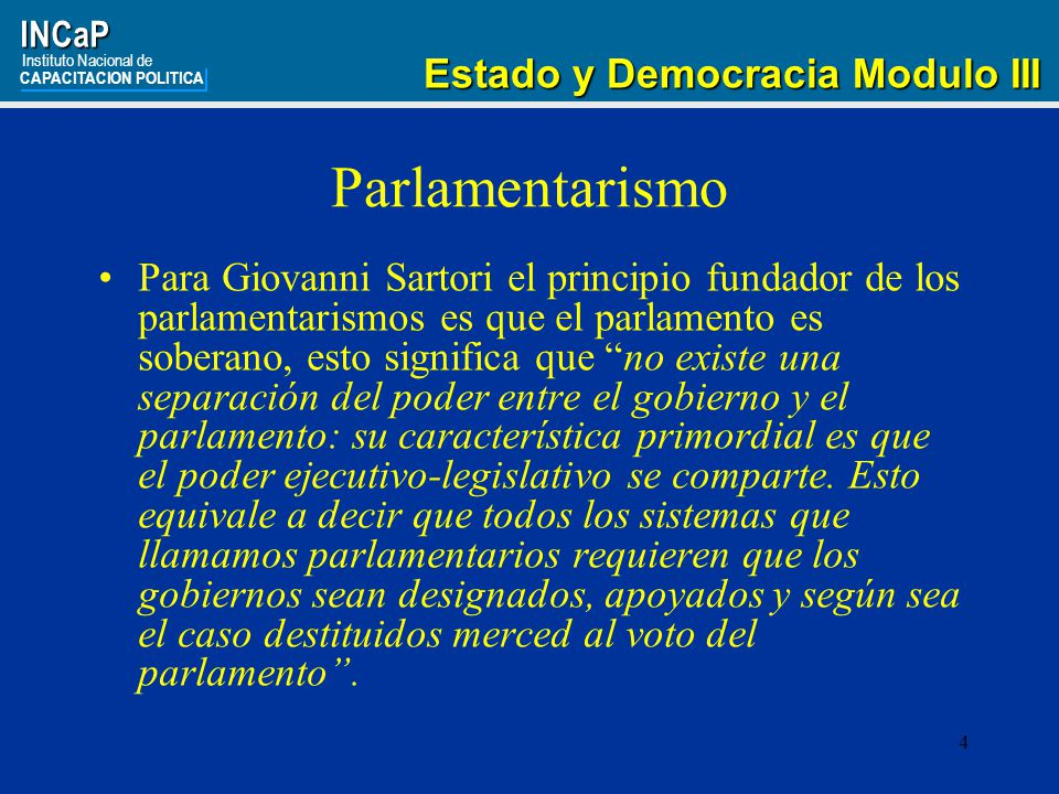 Parlamentarismo Estado y Democracia Modulo III