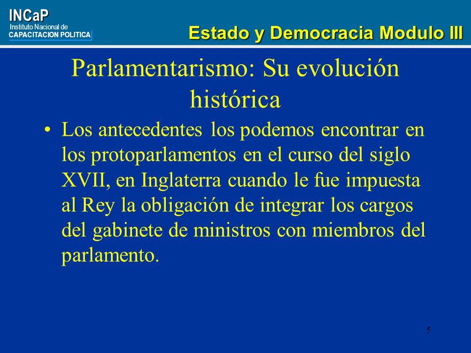 Parlamentarismo: Su evolución histórica