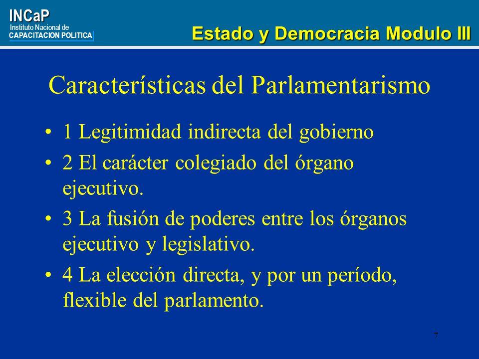 Características del Parlamentarismo