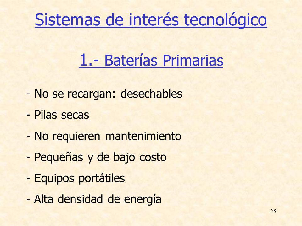 Sistemas de interés tecnológico 1.- Baterías Primarias