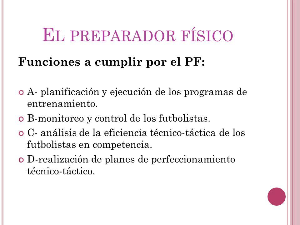 El preparador físico Funciones a cumplir por el PF: