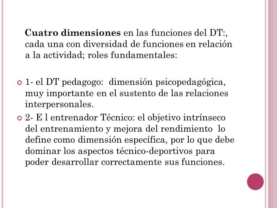 Cuatro dimensiones en las funciones del DT:, cada una con diversidad de funciones en relación a la actividad; roles fundamentales: