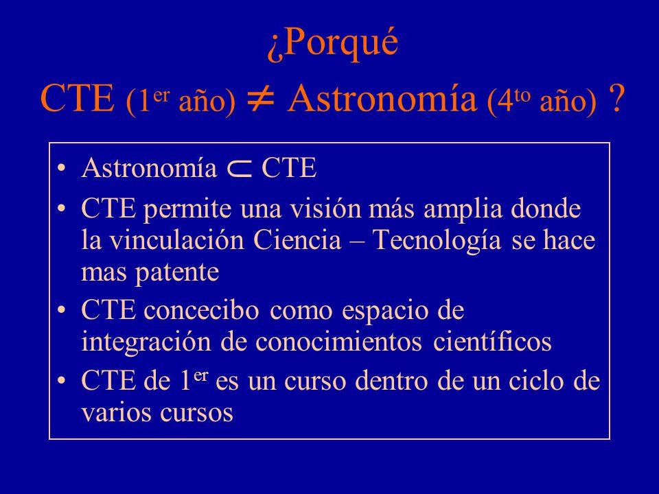 ¿Porqué CTE (1er año)  Astronomía (4to año)