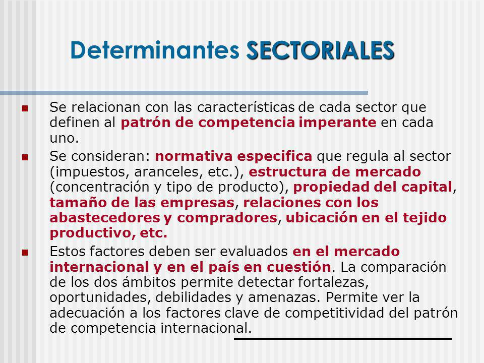 Determinantes SECTORIALES