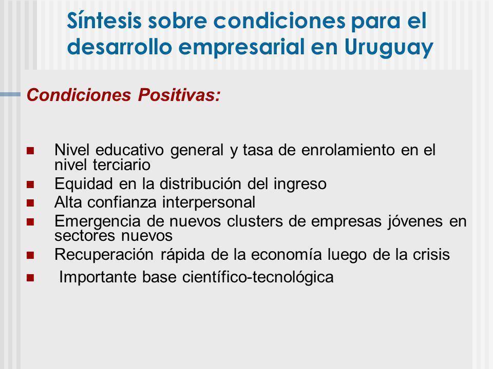 Síntesis sobre condiciones para el desarrollo empresarial en Uruguay