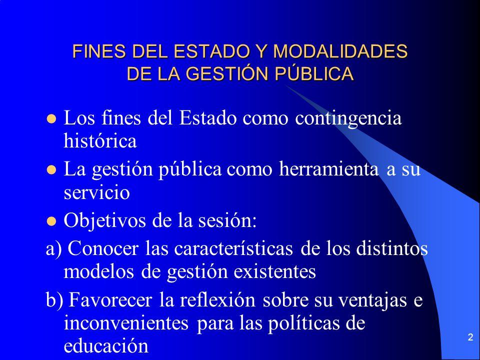 FINES DEL ESTADO Y MODALIDADES DE LA GESTIÓN PÚBLICA