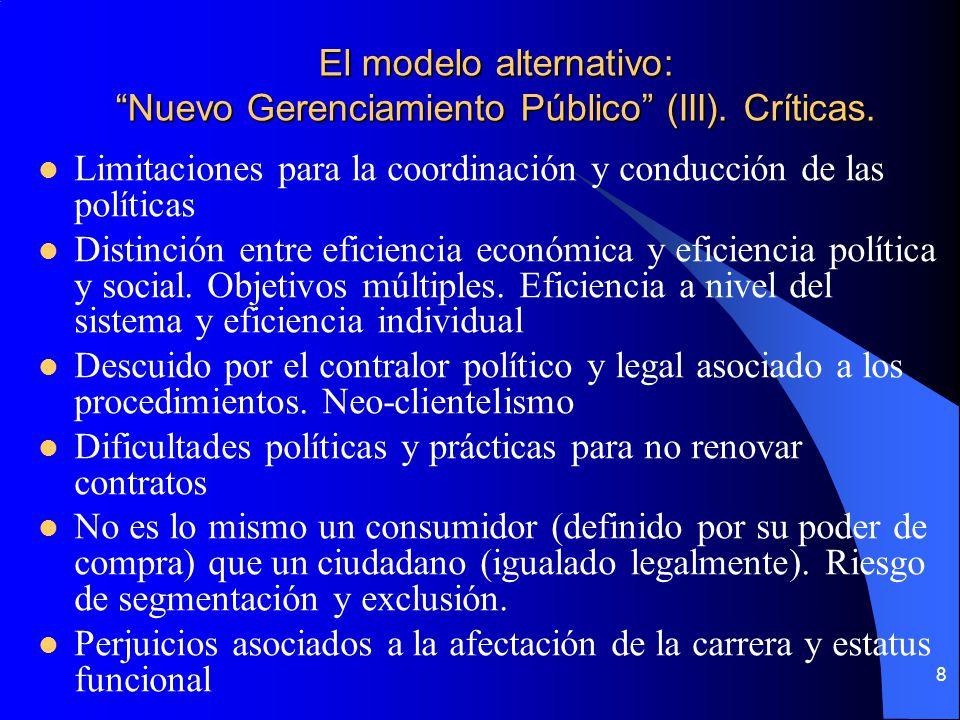 El modelo alternativo: Nuevo Gerenciamiento Público (III). Críticas.