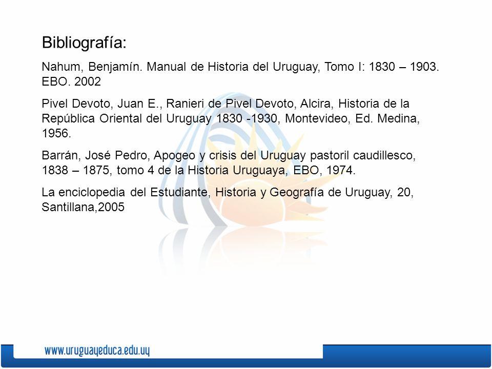 Bibliografía: Nahum, Benjamín. Manual de Historia del Uruguay, Tomo I: 1830 – 1903. EBO. 2002.
