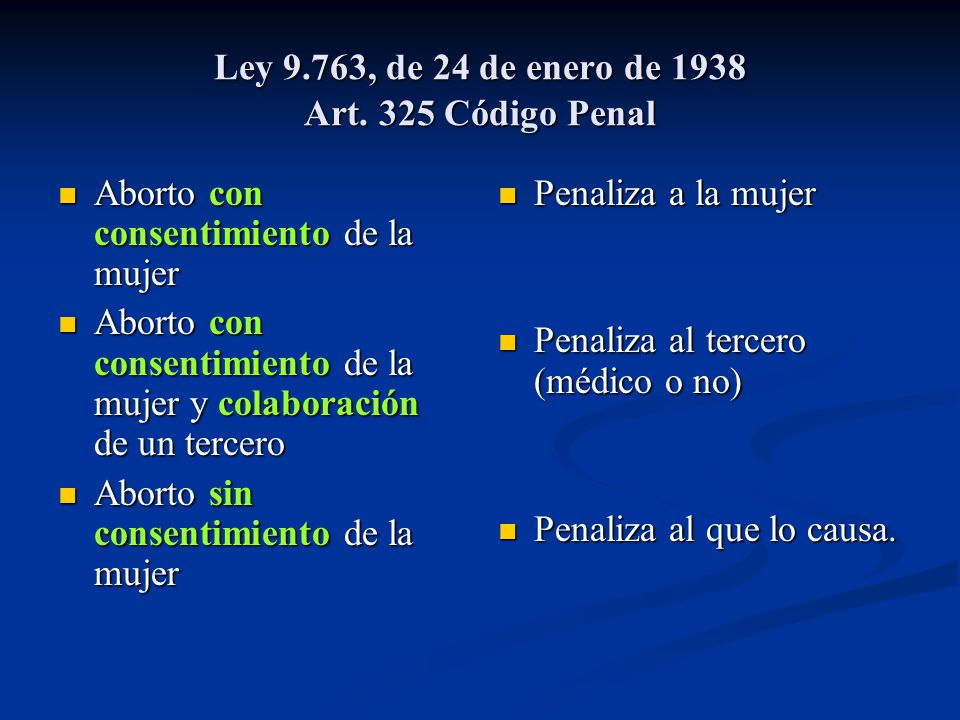 Ley 9.763, de 24 de enero de 1938 Art. 325 Código Penal