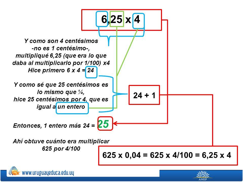 6,25 x 4 Y como son 4 centésimos. -no es 1 centésimo-, multipliqué 6,25 (que era lo que daba al multiplicarlo por 1/100) x4.