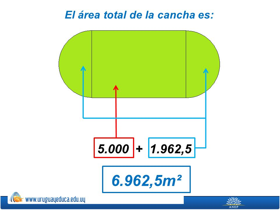 El área total de la cancha es:
