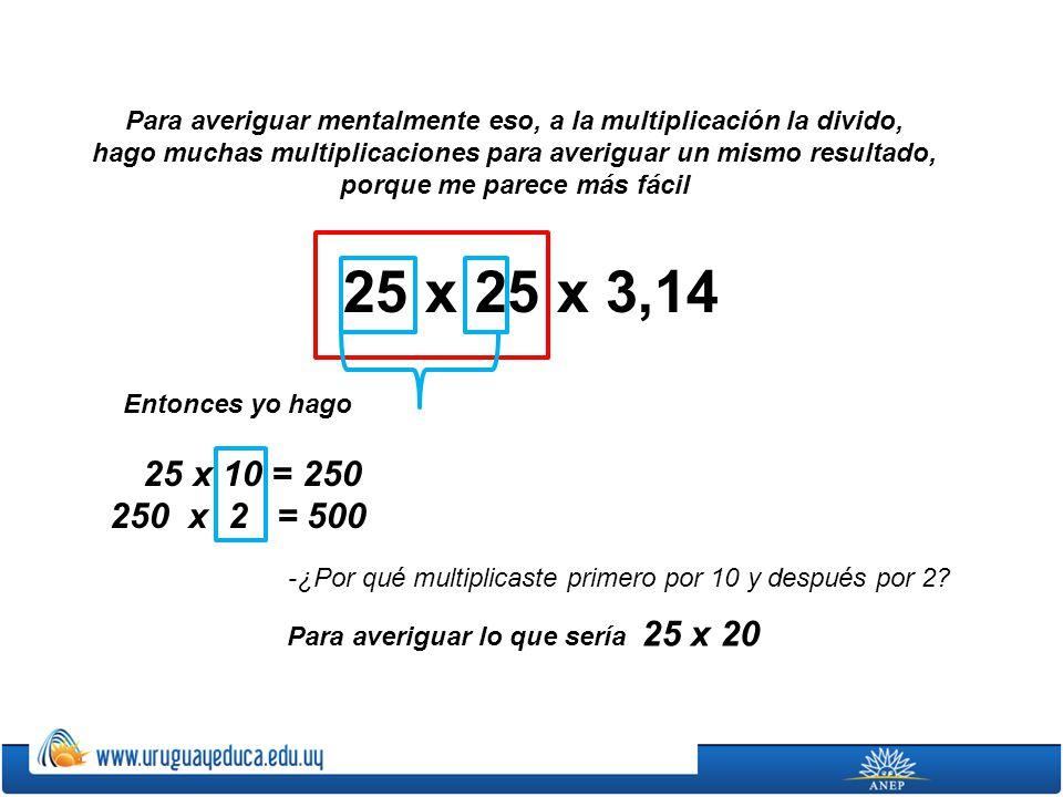 Para averiguar mentalmente eso, a la multiplicación la divido,