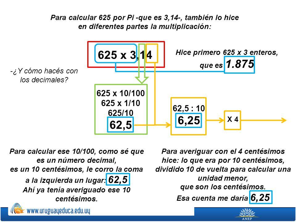 Para calcular 625 por Pi -que es 3,14-, también lo hice