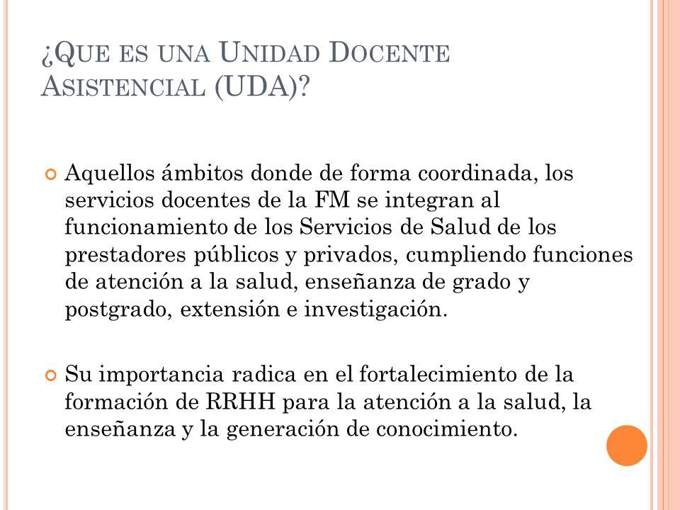 ¿Que es una Unidad Docente Asistencial (UDA)