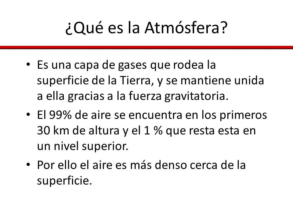 ¿Qué es la Atmósfera Es una capa de gases que rodea la superficie de la Tierra, y se mantiene unida a ella gracias a la fuerza gravitatoria.
