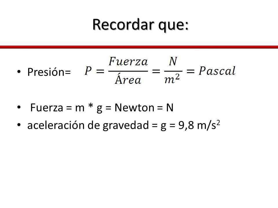 Recordar que: Presión= Fuerza = m * g = Newton = N