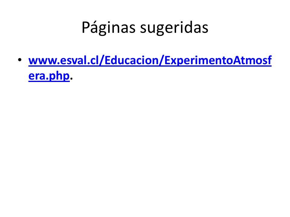 Páginas sugeridas www.esval.cl/Educacion/ExperimentoAtmosfera.php.