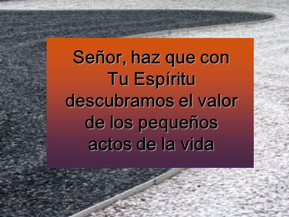 Señor, haz que con Tu Espíritu descubramos el valor de los pequeños actos de la vida