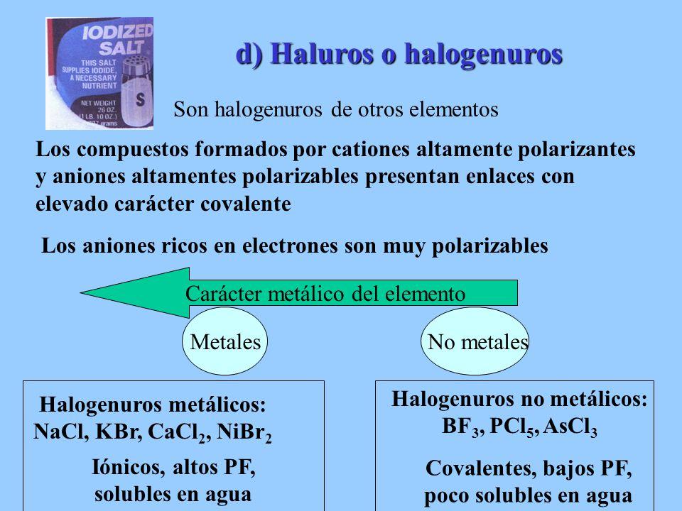 Halogenuros metálicos: Halogenuros no metálicos: