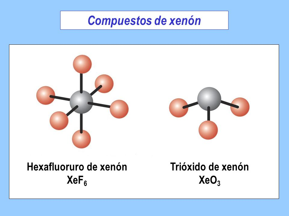 Compuestos de xenón Hexafluoruro de xenón XeF6 Trióxido de xenón XeO3